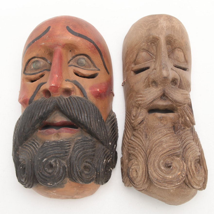 Mexican Carved Wood Masks of Bearded Men