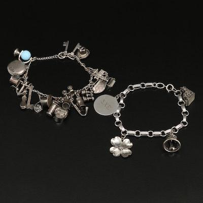 Vintage Sterling Silver Charm Bracelets