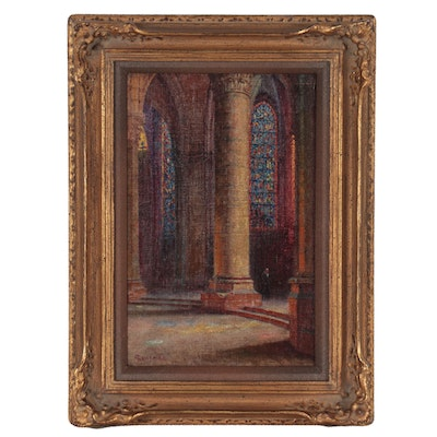 Oil Painting in the Style of Pierre Gaston Rigaud of Cathedrale de Chartres