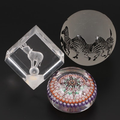 Correia Art Glass Zebra Paperweight with Millefiori Glass and Resin Paperweights