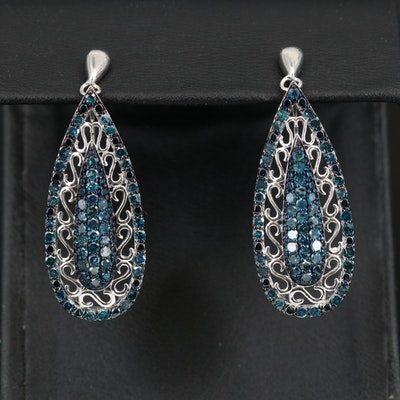 Sterling Silver 1.90 CTW Blue Diamond Earrings with Pavé Center