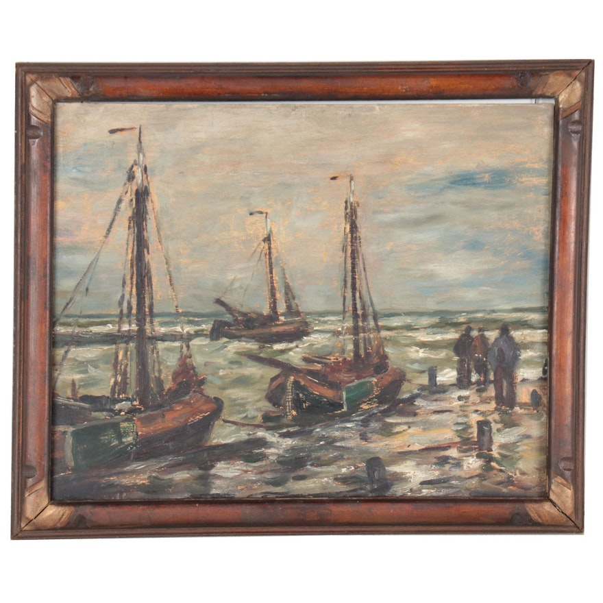 Wilhelm Schmetz Oil Painting of Sailboats, Early 20th Century