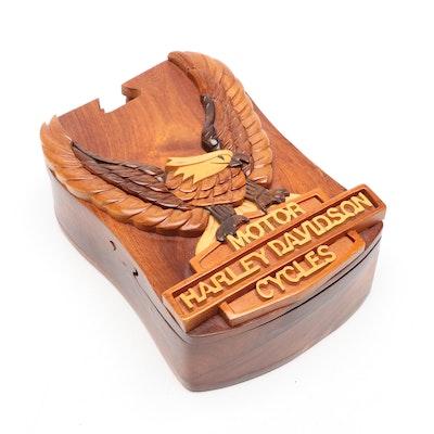 Harley Davidson Carved Wood Puzzle Box