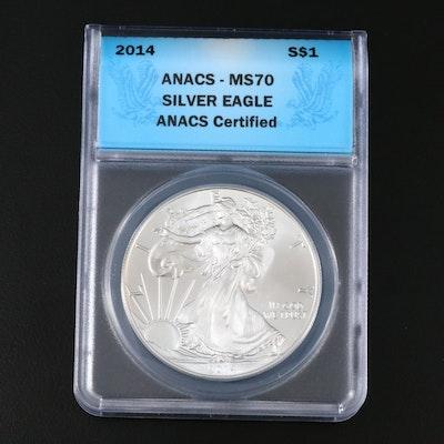 ANACS Graded MS70 2014 Silver Eagle Bullion Dollar Coin