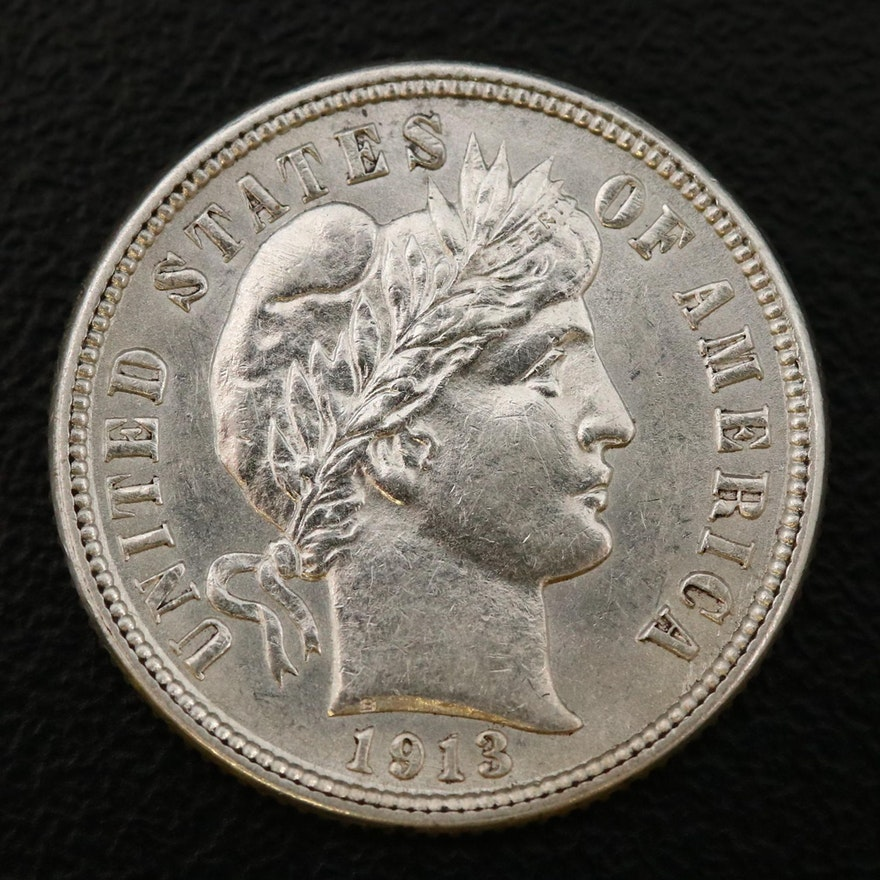 1913 Barber Silver Dime