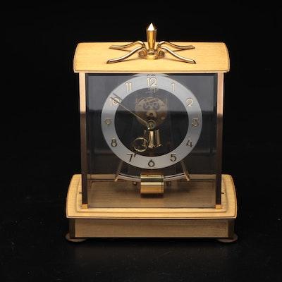 Kieninger & Obergfell Gold Tone and Glass Case Mantel Clock