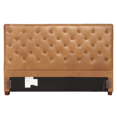 """Pottery Barn """"Lorraine"""" Button-Tufted Brown Leather King Size Headboard"""