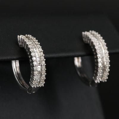 Sterling Silver 0.95 CTW Diamond Hoop Earrings