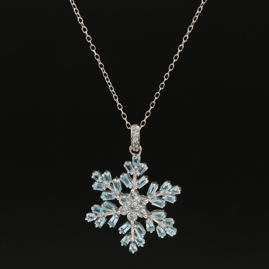 Sterling Swiss and Sky Blue Topaz Snowflake Pendant Necklace