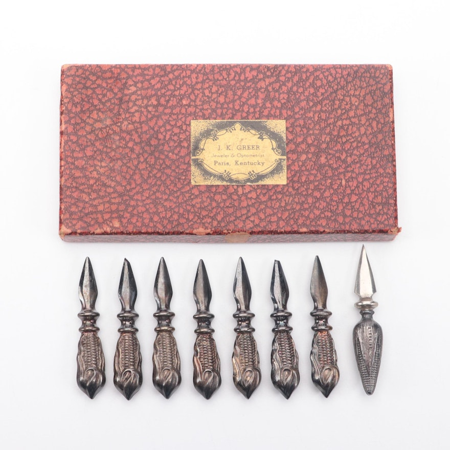 Crest Silver Plate Co. and Other American Sterling Silver Corn Cob Holders