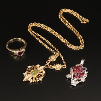 Necklace, Pendant and Ring Including Sterling, Garnet, Ruby and Spinel