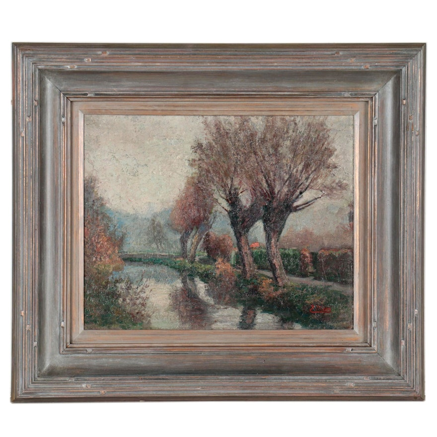 Oil Painting of Landscape with Stream, Early 20th Century