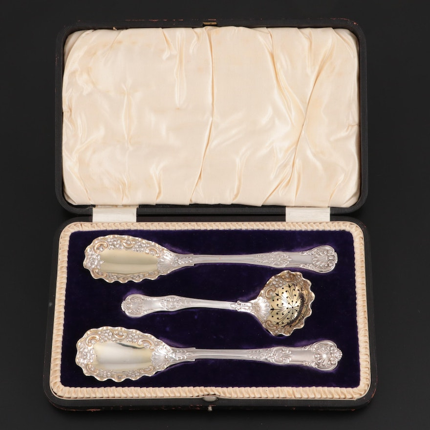 English Sterling Silver Serving Utensils in Leather and Wood Case, Early 19th C