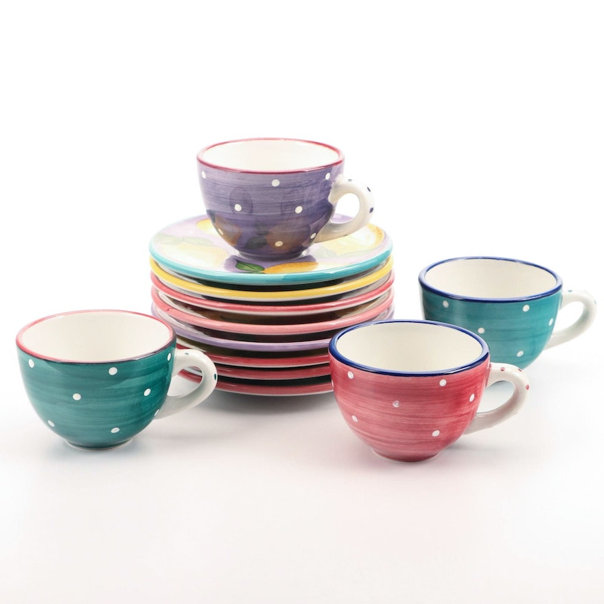 """Heather Outlaw Kurpis for The Essex Collection """"Fruit-Punch"""" Cups and Saucers"""