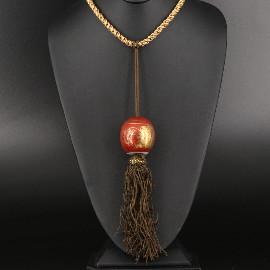 Chain Necklace with Porcelain Bead Tassel Pendant