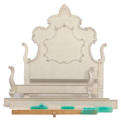"""Pulaski Furniture """"Chez Nicole"""" Louis XV Style Painted Queen Size Bed Frame"""