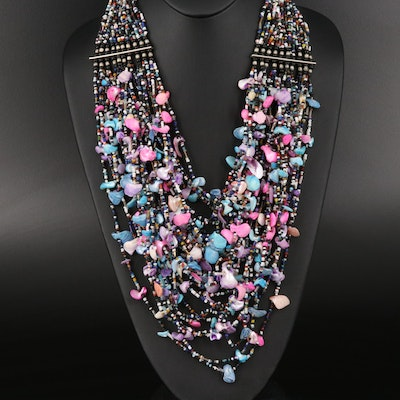 Shell and Glass Multi-Strand Bead Necklace