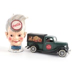 """Coca-Cola """"Sprite Boy"""" Cast Iron Bank and Ford Delivery Truck, Late 20th C."""