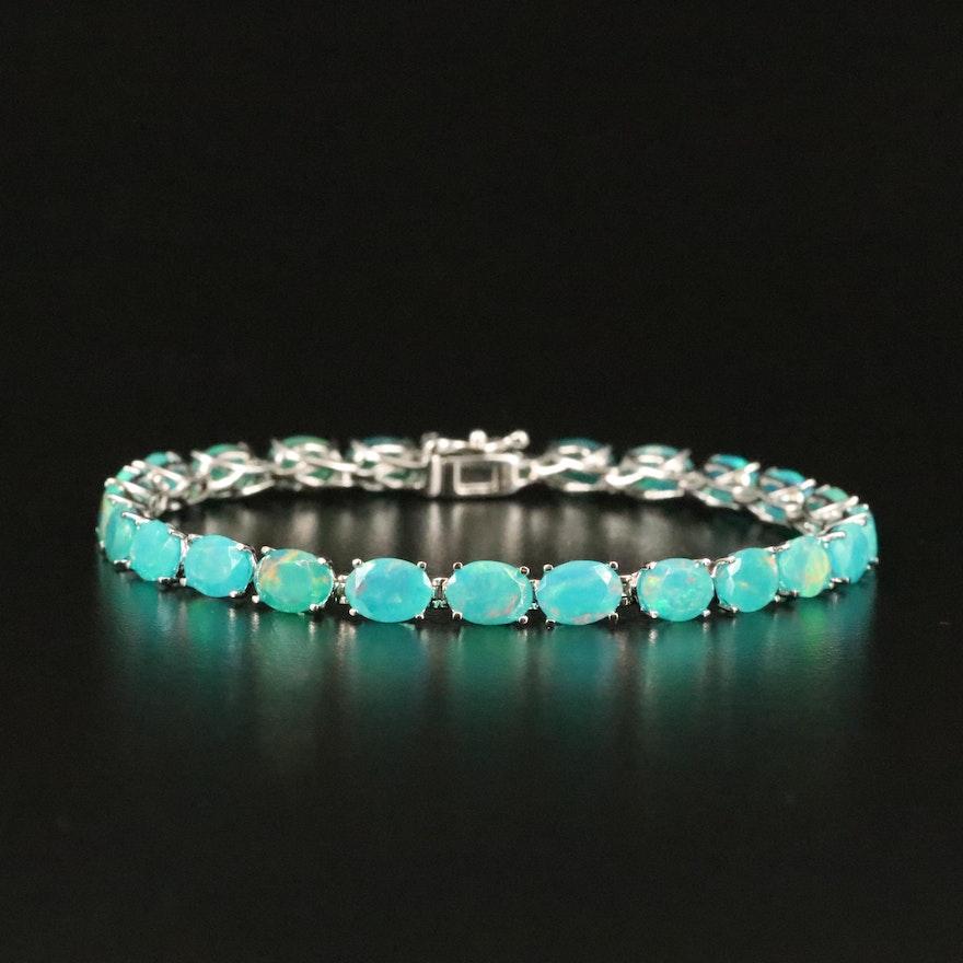 Sterling Opal Line Bracelet