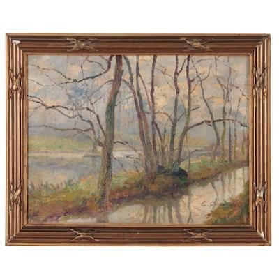 Eugene Calberg Landscape Oil Painting, 1924