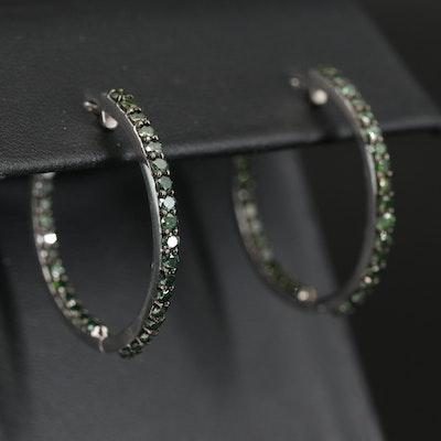 Sterling Silver 1.95 CTW Green Diamond Inside Out Hoop Earrings