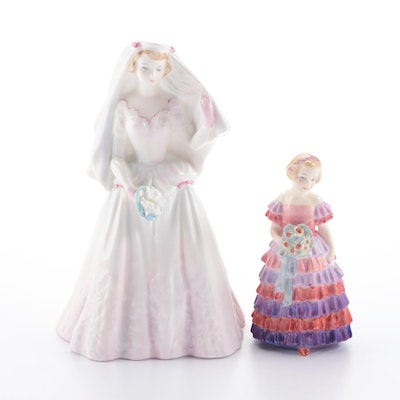 """Royal Doulton """"The Bride"""" and """"The Little Bridesmaid"""" Bone China Figurines"""