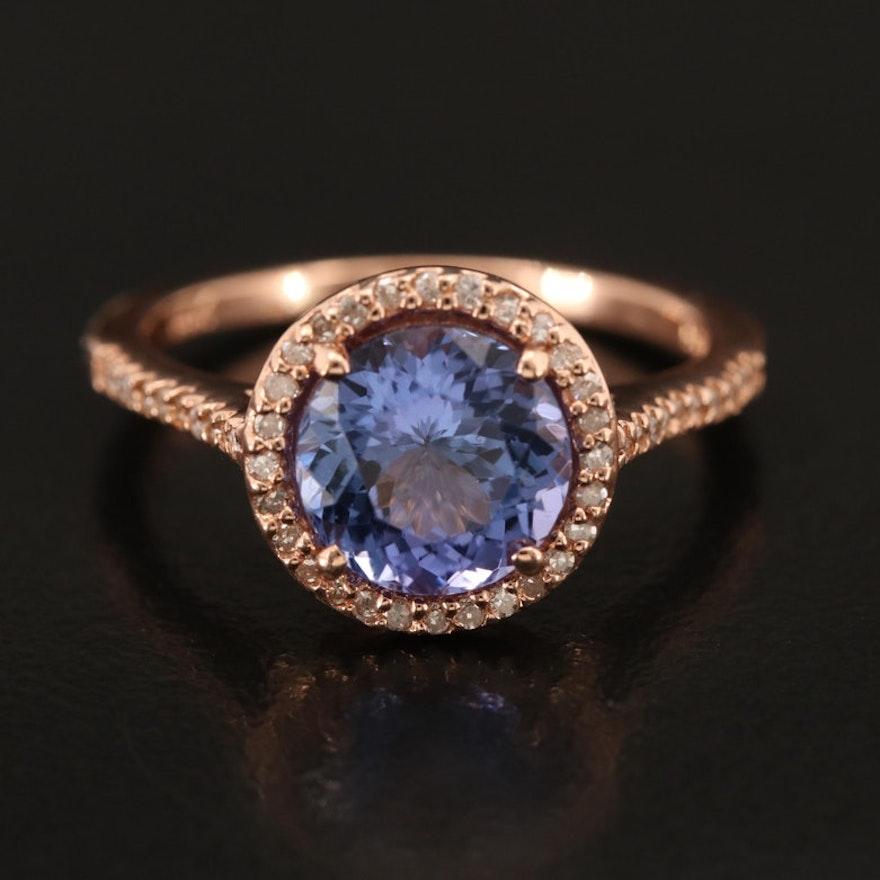 EFFY 14K ROSE GOLD DIAMOND, TANZANITE RING