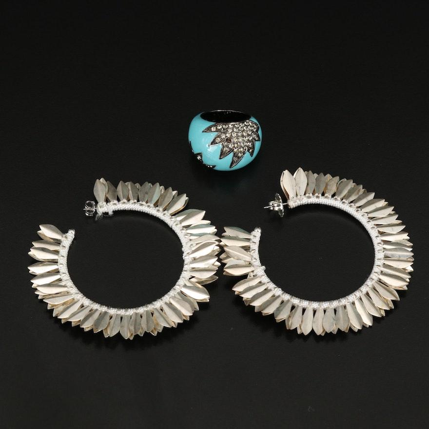 Rhinestone and Enamel Domed Ring with Hoop Earrings