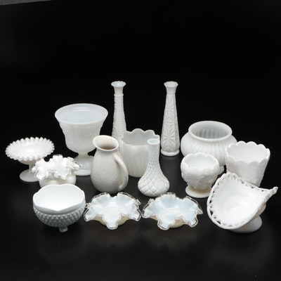 Fenton Silver Crest Ruffle Edge Bowls and Other Milk Glass Tableware