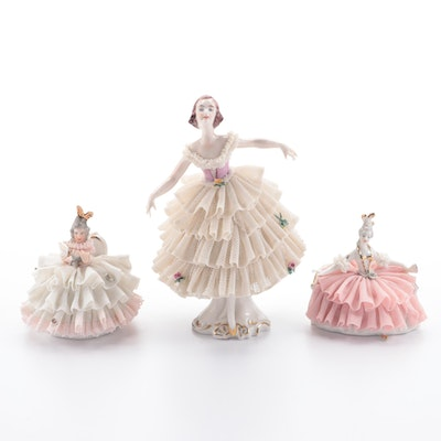Dresden Ballerina and Other Dancer Porcelain Figurines with Lace Costumes
