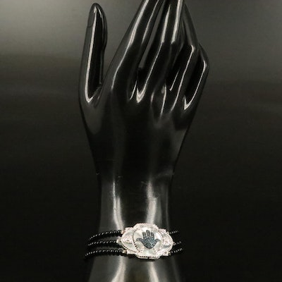 Sterling Hand of Fatima Bracelet with Diamond, Mother of Pearl and Black Onyx