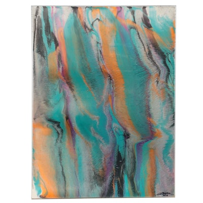 Aaron Richardson Abstract Acrylic Pour Painting, 2018
