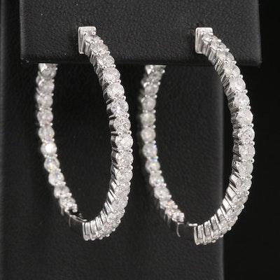 14K 3.91 CTW Diamond Inside Out Hoop Earrings
