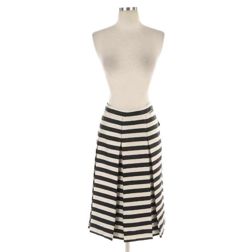 Halogen Box Pleated Black and White Striped A-Line Skirt