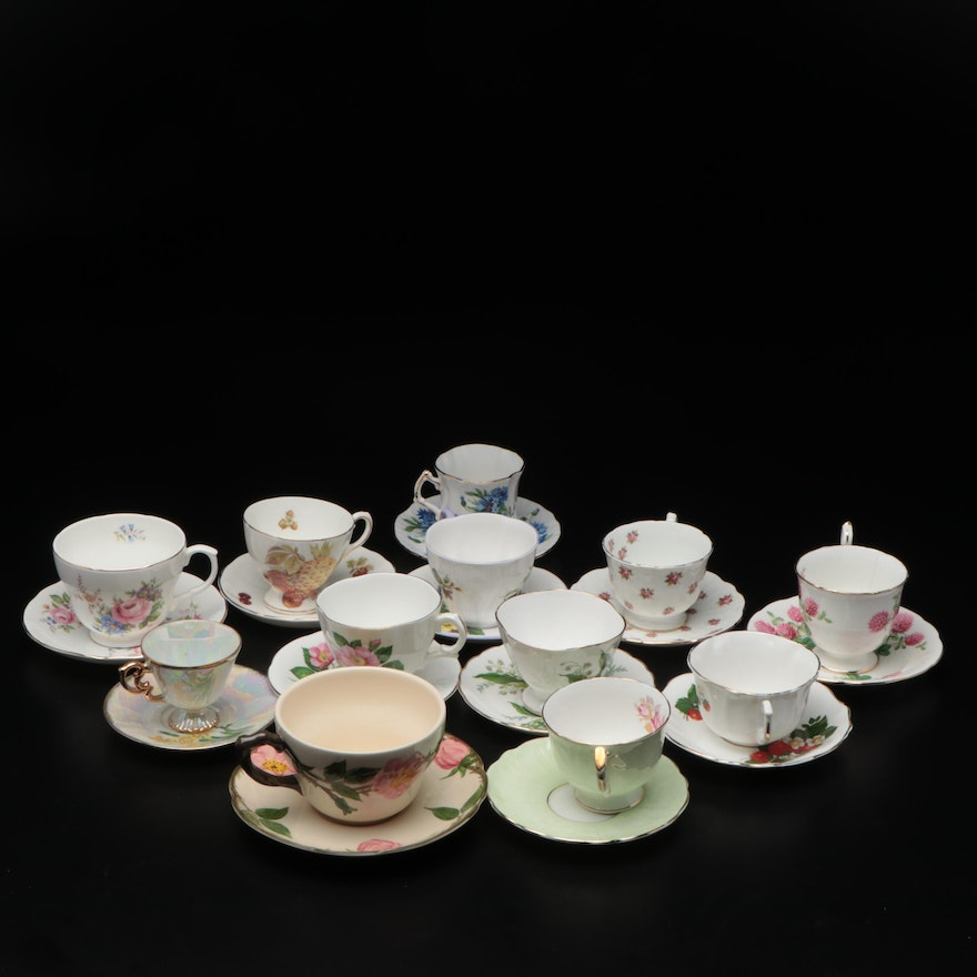 Franciscan and Other Porcelain Teacups and Saucers
