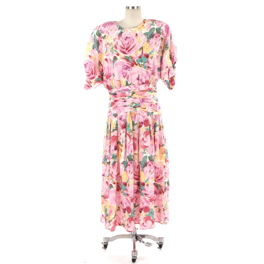 Maggy London Occasion Dress in Watercolor Floral Silk Jacquard