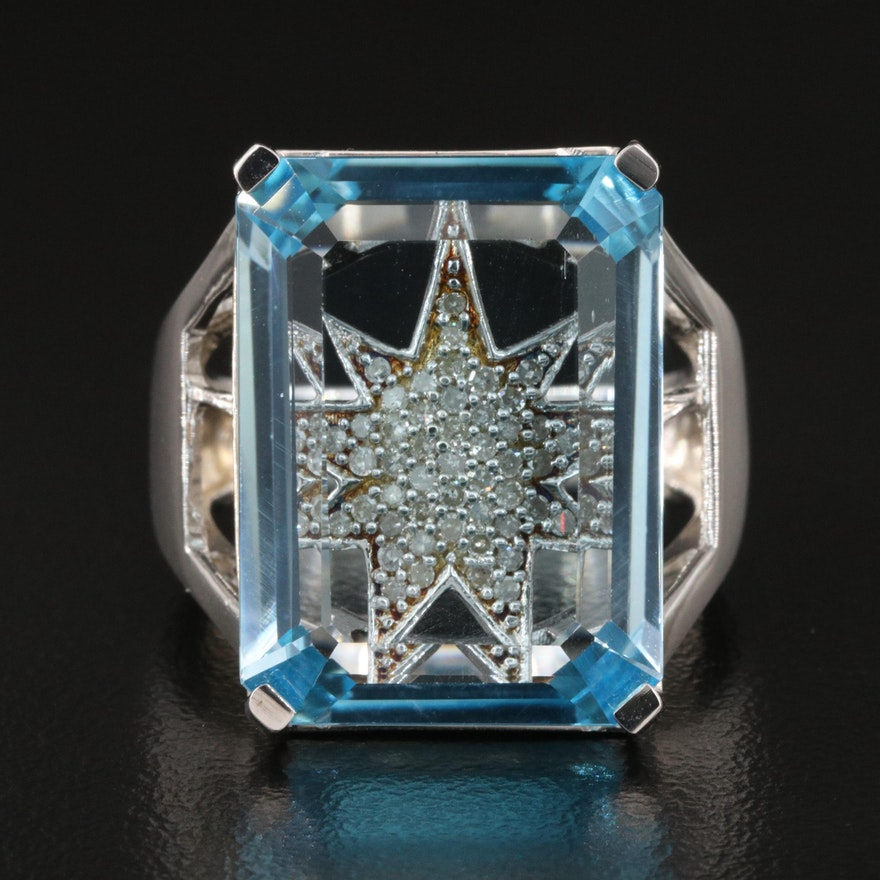 Eva LaRue Sterling Silver Topaz and Diamond Starburst Ring