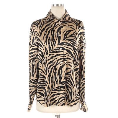 Starington Silk Long-Sleeve Blouse in Tiger Stripe Print