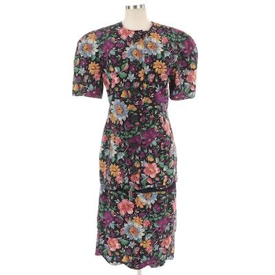 Albert Nipon Silk Skirt Set in Multicolor Floral Pattern