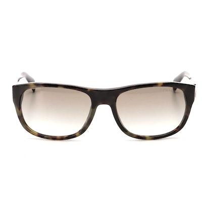 Prada SPR 29N Rectangular Sunglasses in Tortoise Acetate with Case