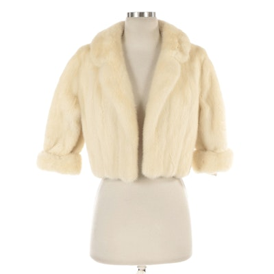 Platinum Mink Fur Cropped Jacket with Turned Backs from Bergdorf Goodman