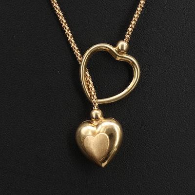 Italian 18K Heart Lariat Necklace