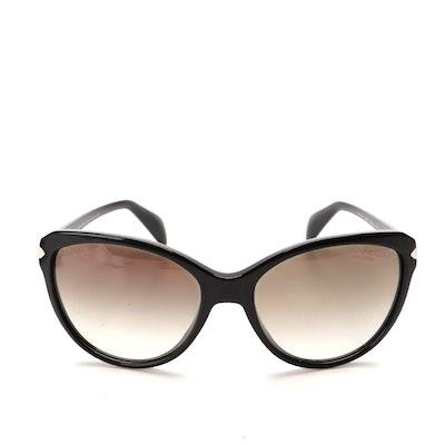 Prada SPR 15P-A Modified Cat Eye Sunglasses in Black with Gradient Lenses