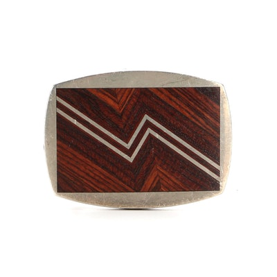 Geoffrey Roth Wood Inlay and Pewter Belt Buckle