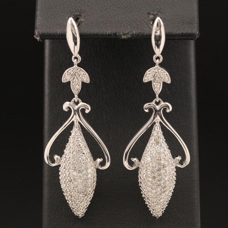 Sterling 1.00 CTW Diamond Earrings