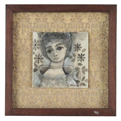 """Elmer Ruff Painted Ceramic Tile """"Egyptian Rose,"""" 1965"""