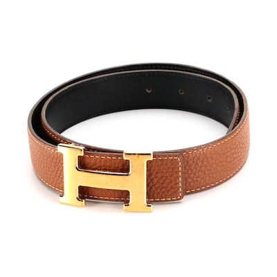 Hermès Constance Reversible Belt in Courchevel and Black Box Calf Leather