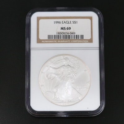NGC Graded MS69 Key Date 1996 Silver Eagle
