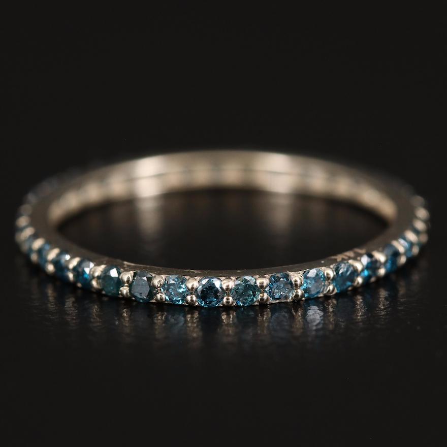 14K Blue Diamond Eternity Band