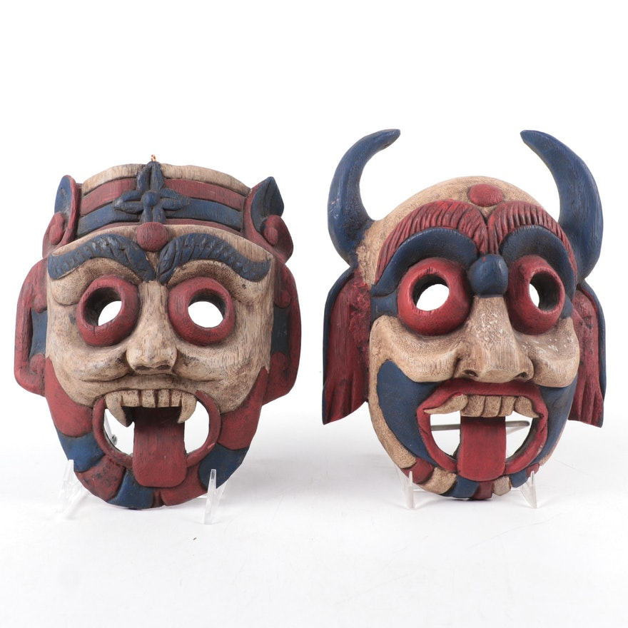 Thai Polychrome Decorative Wood Masks